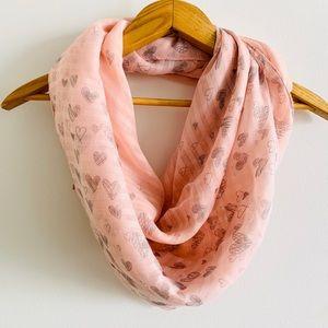 Pink Lightweight Heart Feminine Scarf or Throw